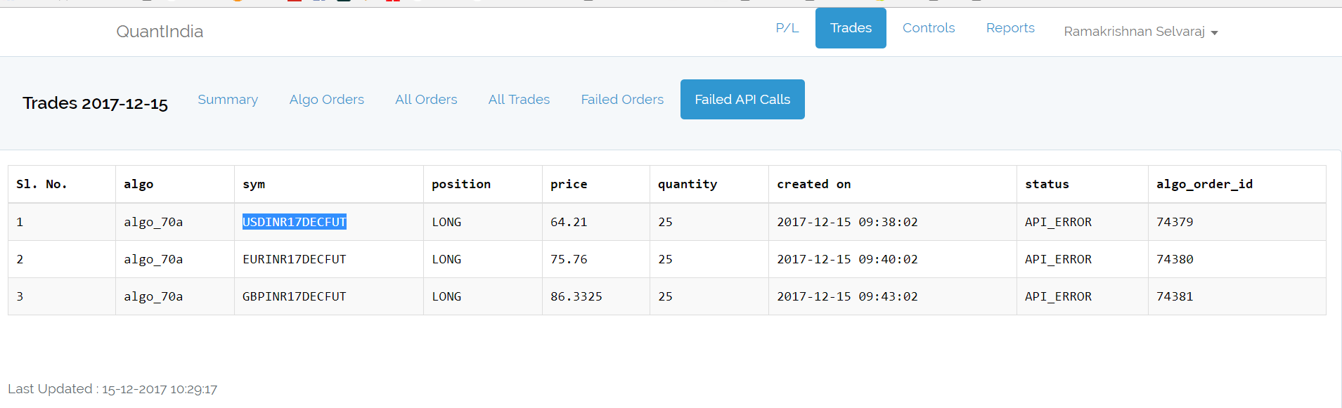 Currency order API failures - 15Dec17 - Kite Connect