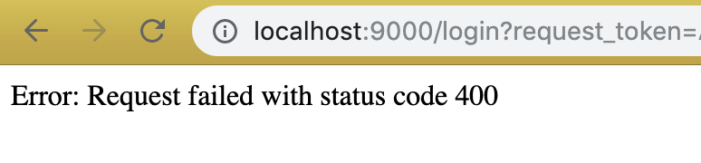 Error: Request failed with status code 400